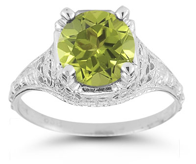 Antique-Style Floral Peridot Ring in 14K White Gold