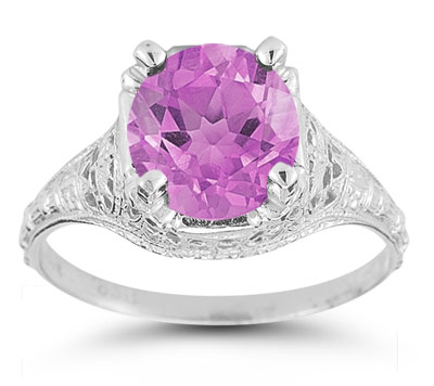 Antique-Style Floral Pink Topaz Ring in 14K White Gold