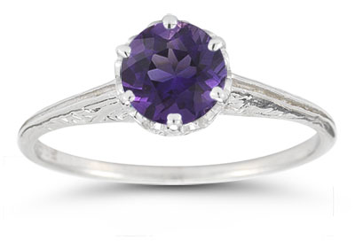 Vintage Prong-Set Amethyst Ring in 14K White Gold