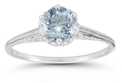 Vintage Prong-Set Aquamarine Ring in 14K White Gold