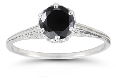 Vintage Pront-Set Black Diamond Ring in 14K White Gold