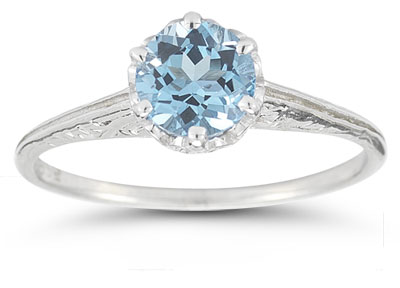 Vintage Prong-Set Blue Topaz Ring in 14K White Gold