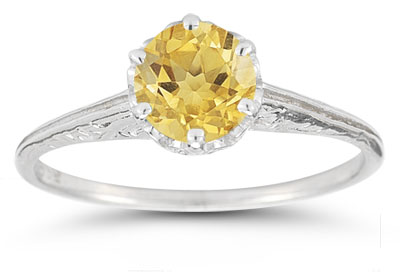 Vintage Prong-Set Citrine Ring in 14K White Gold