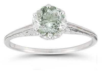 Vintage Prong-Set Green Amethyst Ring in 14K White Gold