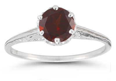 Vintage Prong-Set Garnet Ring in 14K White Gold