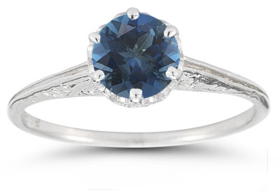 Vintage Prong-Set London Blue Topaz Ring in 14K White Gold
