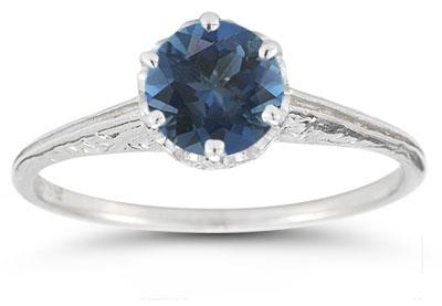Vintage Prong-Set London Blue Topaz Ring in 14K White Gold
