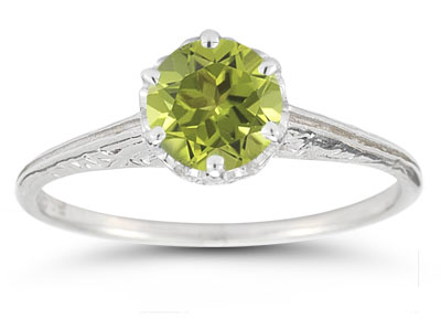 Vintage Prong-Set Peridot Ring in 14K White Gold