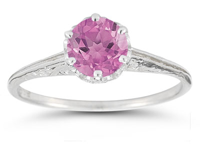 Vintage Prong-Set Pink Topaz Ring in 14K White Gold