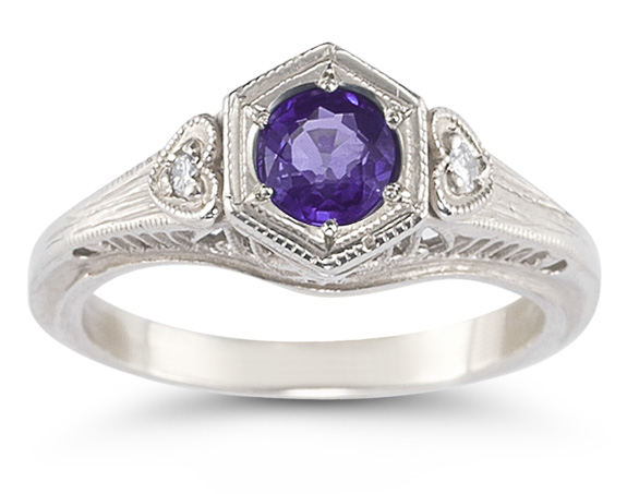 Amethyst and Diamond Heart Ring, 14K White Gold