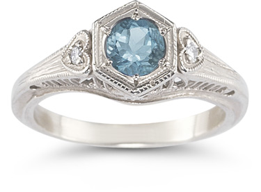 Aquamarine and Diamond Heart Ring in 14K White Gold