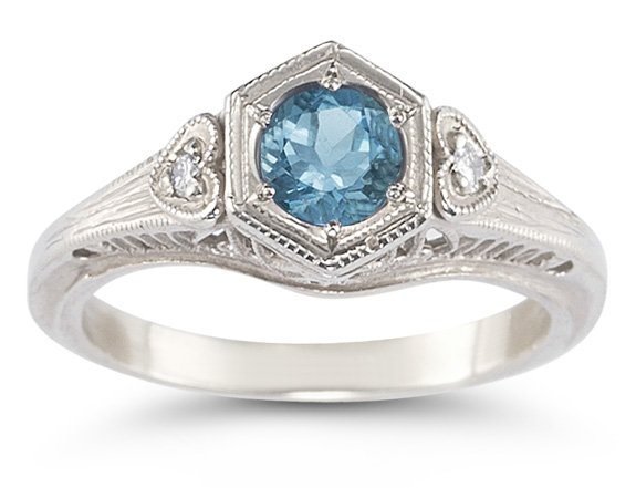 Blue Topaz and Diamond Heart Ring in 14K White Gold