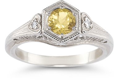 Citrine and Diamond Heart Ring in 14K White Gold