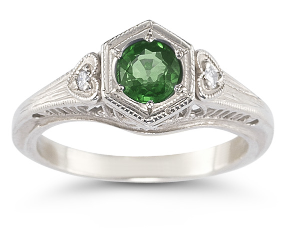 Emerald and Diamond Heart Ring in 14K White Gold