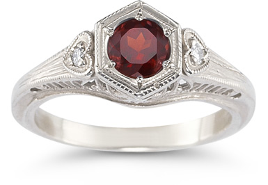 Garnet and Diamond Heart Ring in 14K White Gold