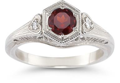 Garnet and Diamond Heart Ring in 14K White Gold