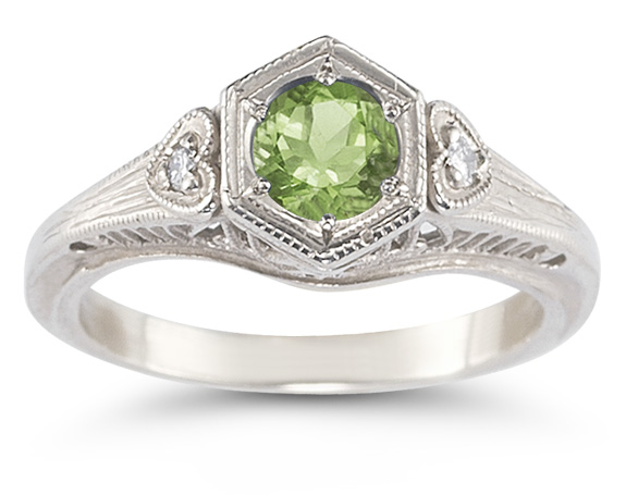 Peridot and Diamond Heart Ring in 14K White Gold