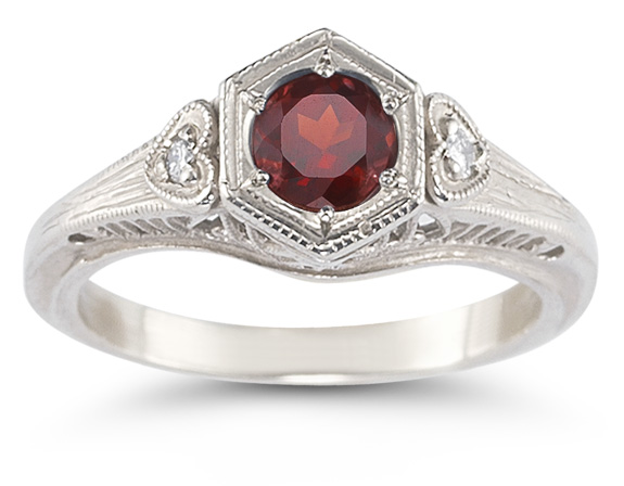 Ruby and White Topaz Heart Ring, .925 Sterling Silver