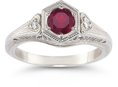 Buy Rhodolite Garnet and Diamond Heart Ring