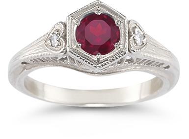 Rhodolite Garnet and Diamond Heart Ring