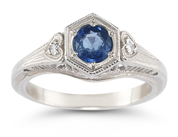 Sapphire and White Topaz Heart Ring, .925 Sterling Silver