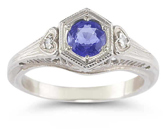 Tanzanite and Diamond Heart Ring in 14K White Gold