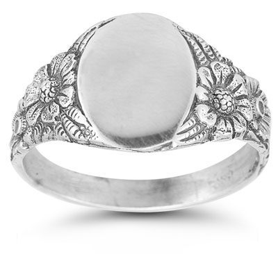 Vintage Flower Signet Ring in 14K White Gold