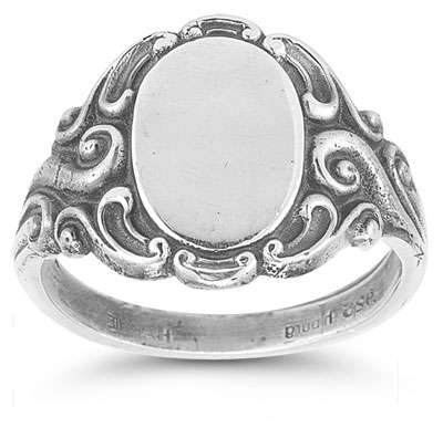Vintage Paisley Signet Ring in 14K White Gold