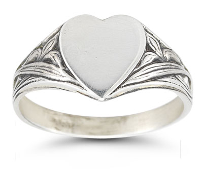 Vintage Heart Signet Ring in 14K White Gold
