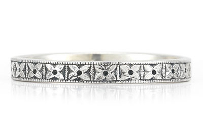 Vintage Floral Wedding Band Ring in 14K White Gold