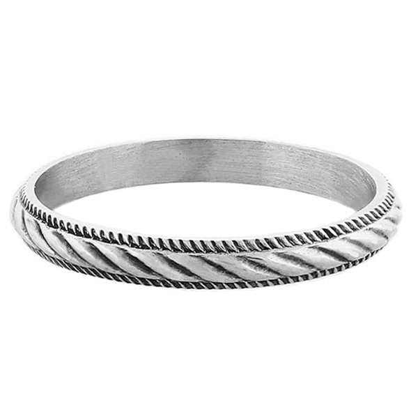 Antique-Style Wedding Band Ring in Sterling Silver
