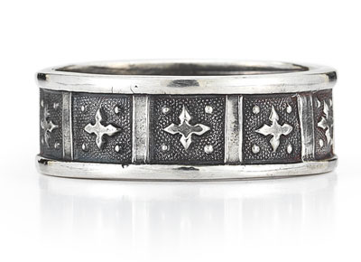 Antique-Style Cross Wedding Band Ring in 14K White Gold