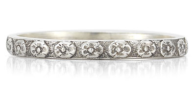 Vintage Flower Wedding Band Ring in 14K White Gold