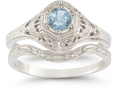 Buy Antique-Style Aquamarine Wedding Ring Set
