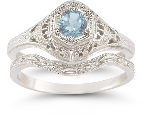 Antique-Style Aquamarine Wedding Ring Set