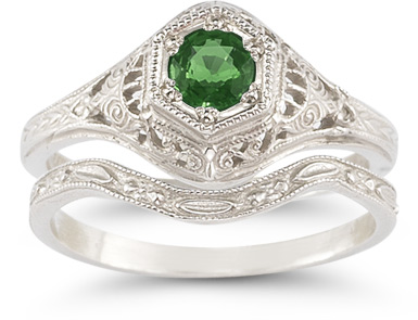 Buy Antique-Style Emerald Wedding Ring Set