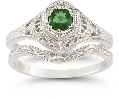 Antique-Style Emerald Bridal Wedding Ring Set