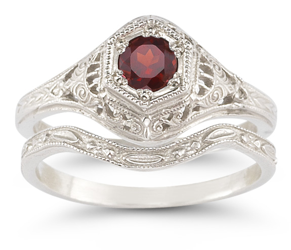 Garnet Bridal Wedding Ring Set in 14K White Gold