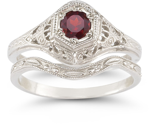 Antique-Style Ruby Wedding Ring Set