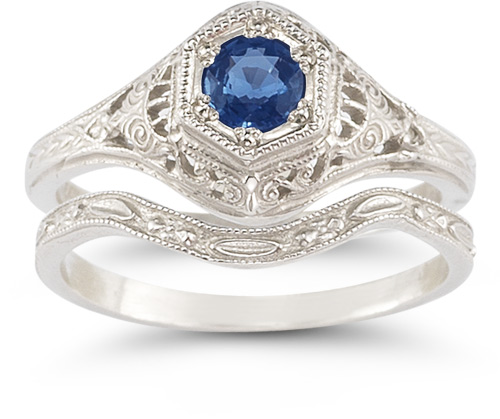 Antique-Style Sapphire Wedding Ring Set