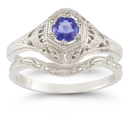 Antique-Style Tanzanite Wedding Ring Set