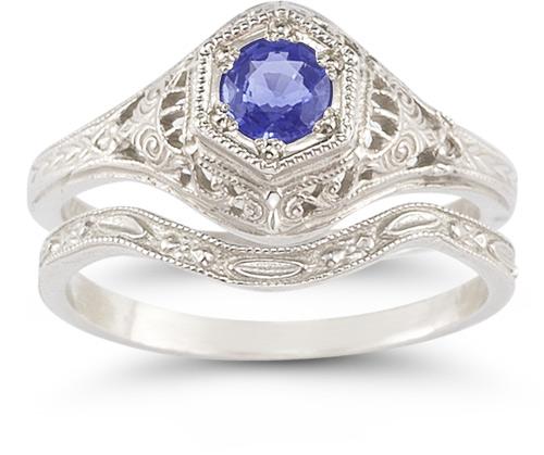 Antique-Style Tanzanite Wedding Ring Set