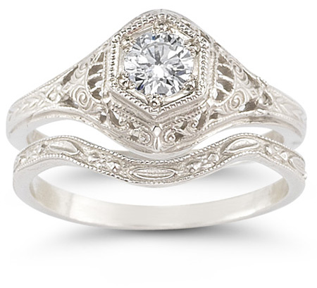 Antique-Style Cubic Zirconia Wedding Ring Set in 14K White Gold