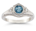 London Blue Topaz Vintage Heart Ring