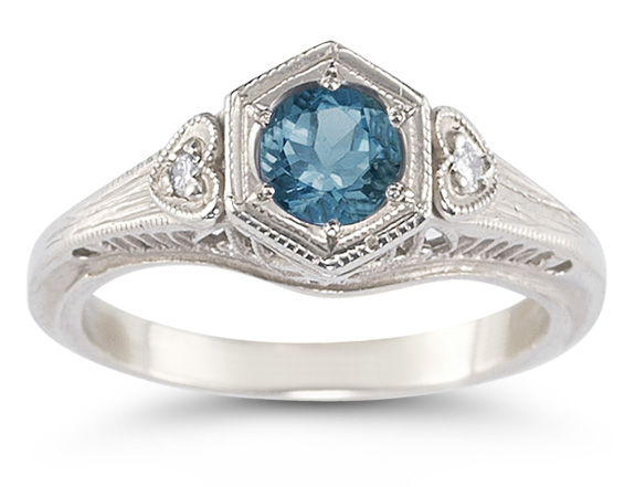 Antique-Style London Blue Topaz Heart Ring, Sterling Silver