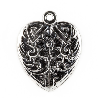 Vintage Style Heart Pendant in Sterling Silver