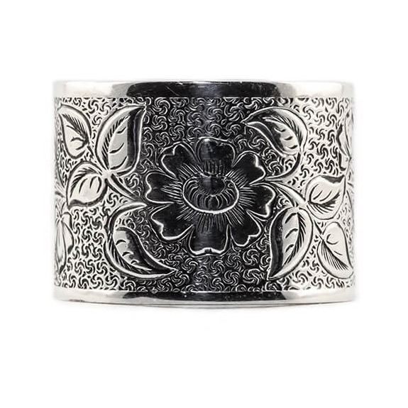 Wide 14mm Vintage Flower Engraved Band in Sterling Silver