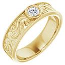 0.25 Carat Men's Diamond Paisley Wedding Band Ring, 14K Gold