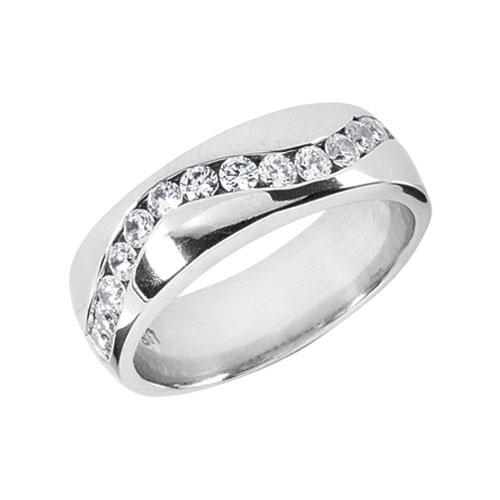 0.90 Carat Diamond Wave Wedding Band Ring