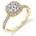 1 1/2 Carat Diamond Halo Engagement Ring, 14K Yellow Gold